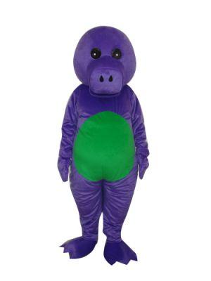 Purple Dinosaur Dragon Green Belly Mascot Costume w Long Tail