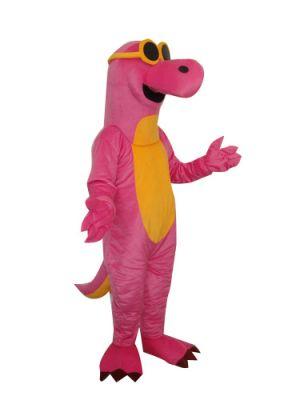 Pink Dinosaur Dragon w Cool Glasses Mascot Costume