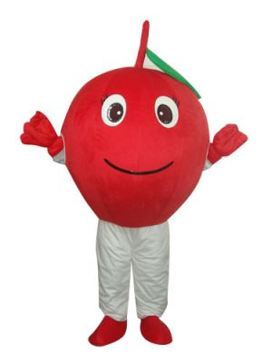 Red Apple Green Leaf Mascot Costume