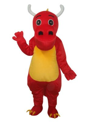 Red Dinosaur with Horn and Big Nose Mascot Costume