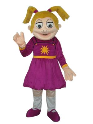 Smile Girl in Purple Mascot Costume