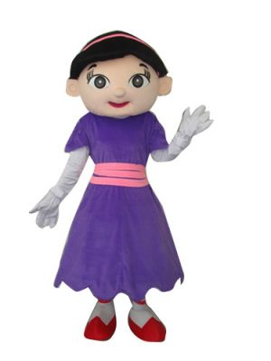 Smile Lady in Purple Skirt Mascot Costume