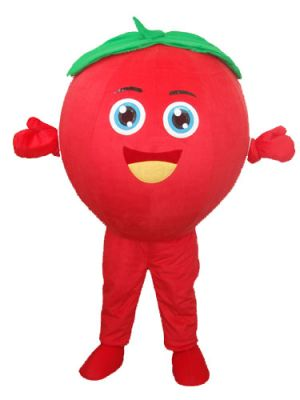 Smiling Red Tomato Bob Mascot Costume