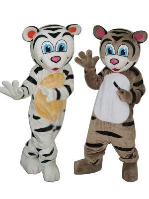 White and Brown Tiger Mascot Costume