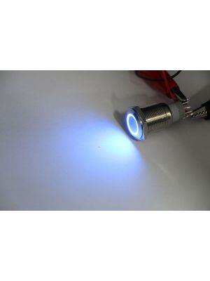 Splash Resistant Power Push Button Latching Switch w/ 12V Blue LED