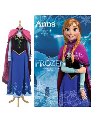 Frozen Princess Anna Cosplay Costume Disney Movie XS XXL