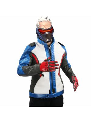 Overwatch Soldier 76 Jacket Cosplay Costume with Gloves Halloween Clothing