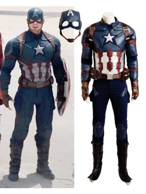 New Captain America 3 Civil War Steve Rogers Cosplay Costume Adult