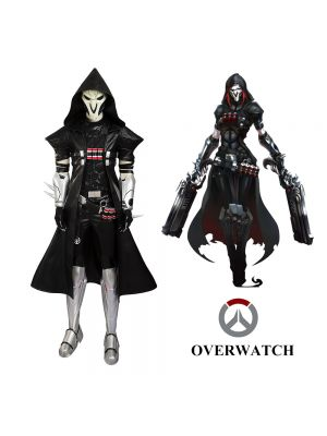 Overwatch Reaper Black Uniform Cosplay Costume Customized