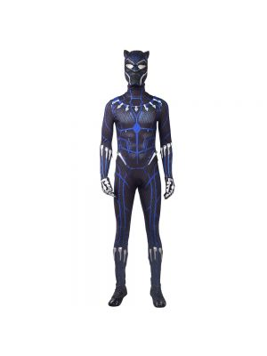 2018 Black Panther Costume Blue Printing Halloween Cosplay Costume