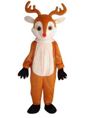 Light Brown Deer Moose w/ Red Nose Mascot Costume