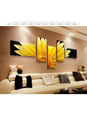 Sunflower Metal Wall Art Coloured Sculpture Painting Decor 5 Set