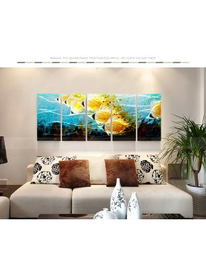 Abstract Fish Metal Wall Art Coloured Sculpture Painting Decor