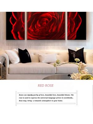 Red Rose Abstract Metal Wall Art Coloured Painting Decor