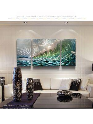 Sea Metal Wall Art Coloured  Sculpture Painting Decor 3 panels