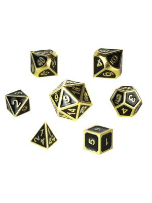 D&D Metal Dice Set 7 Metal Dice in Shiny Copper and Black Enamel
