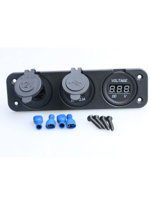 Marine Grade Triple Panel Charger Outlets and Voltmeter by U.S. SOLID