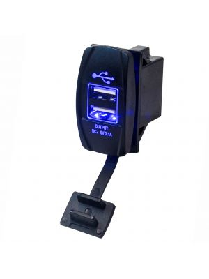 Marine Grade Dual USB Charger Outlet with Blue LED Backlight  DC 12/24V Input  5V 3.1A Output from U.S. SOLID