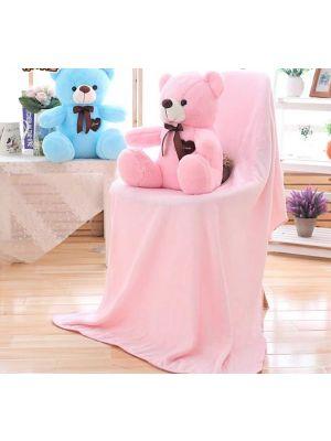 3in1 Stuffed Teddy Bear Sleeping Pillow Plush Toy Flannel Blanket